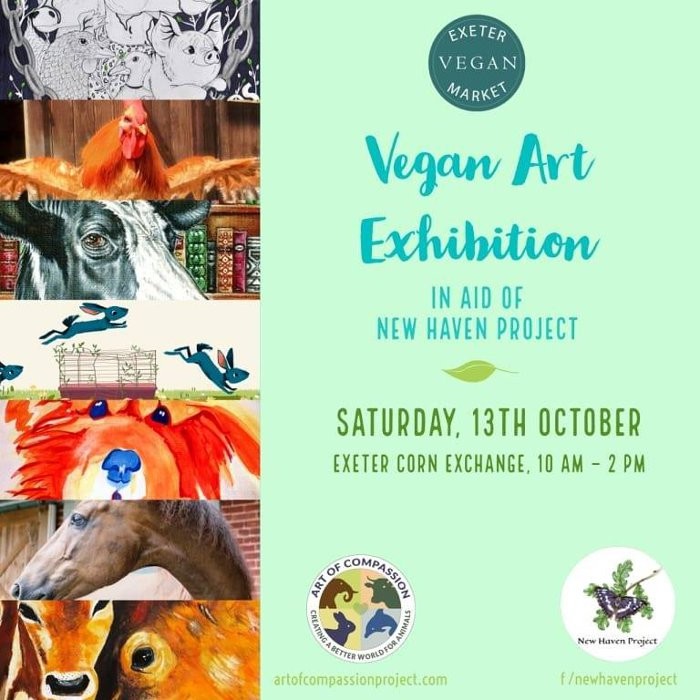 vegan art exhibition at Exeter Vegan Market, Sat 13 October 2018