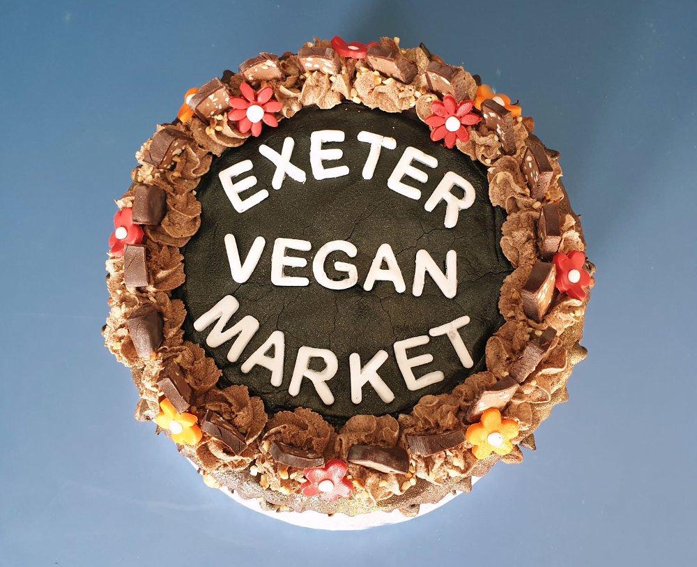 Exeter Vegan Market 1st birthday cake